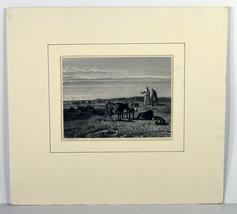 "Antique 6"" Engraving Print Cattle of Middelburg Monks Stortenbeker Lands... - $56.99"