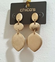 CHICO'S GOLD TONE CALISTA DROP EARRINGS PIERCED NWT MSP $25.00 - $10.00