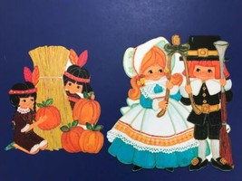 Hallmark Thanksgiving Autumn Fall Paper Decoration Die Cut Pilgrim Boy G... - $25.69