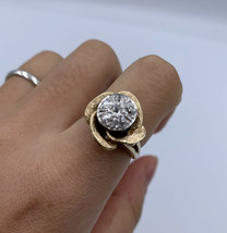 14k Yellow Gold Ring set in Flower Occasion ring With 6 Diamonds fine Si... - $1,309.52