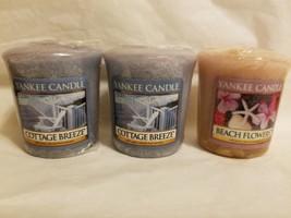 Lot 3 Yankee Candle Votives 2 Cottage  Breeze + 1 Beach Flowers - $11.99
