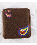 2005 Sesame Workshop Elmo Zipper Wallet Brown Flannel - $10.00