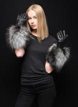 Genuine Leather Silver Fox Fur Fall/Winter Handmade Long Gloves - $149.99