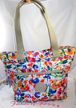 NWT KIPLING BRYCE Tote Carryall Shoulder Bag Floral Night Natural w Monk... - $49.45