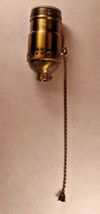 On/Off Solid Antique Brass Pull Chain Early Electric Style Uno Lamp Sock... - $9.54