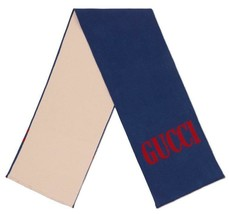NEW GUCCI CURRENT BLUE & BEIGE LOGO WOOL SILK LARGE JACQUARD WRAP SCARF ... - $280.49