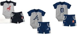 MLB Infant Boy's Double Header Shorts & Bodysuit Set Baby Baseball Outfit NEW
