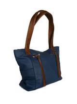 Blue Leather Shoulder Bag w/ fringe, Everyday Handbag, Handmade Handbags, Kenia - $103.49