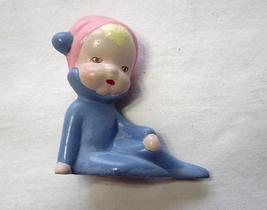 Miniature Ceramic Baby in Pajamas with Sleeping Cap Vintage - $9.99