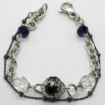 Silver Bracelet 925 Rhodium and Burnished with Crystals Colourful Made i... - $99.80