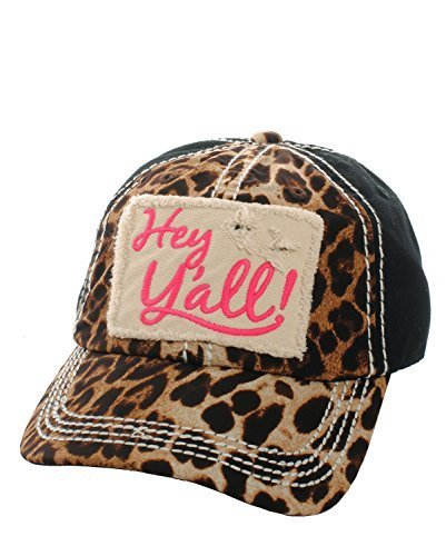 Embroidered Leopard Print Hey Y'all Patch Baseball Hat (Hot Pink)