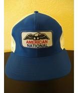 VTG American National snapback trucker hat cap blue eagle - $11.80