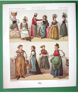 SWITZERLAND Women's Costume Uri Bern Cantons - 1888 COLOR Print A. Racinet - $14.85