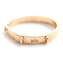 NWT COACH Plated Metal Swagger Hinged Bangle Bracelet Cuff Rose Gold F90... - $63.58