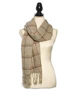 Acrylic Knit Boucle Multi Check Scarf Scarves Shawl Fringe Trim Winter B... - $21.99