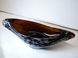 Vintage Italian Murano 1950s HandBlown Speckled Brown Glass Gondola Bowl... - $49.98