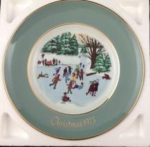 Vtg Enoch Wedgwood 1975 Christmas Plate Skaters on Pond England 4th Edit... - $19.74