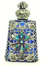 Czech Blue Silver Filigree Perfume Bottle / Wholesale - $32.43
