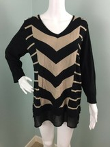 NWT Womens Dana Buchman Layered Black/Tan Striped Sweater Sz XL Extra Large - $22.76