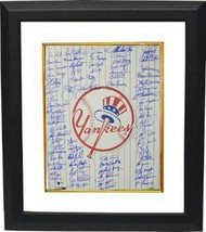 New York Yankees signed 16x20 Photo Custom Framed Top Hat Logo w/ 70 sig... - $424.95