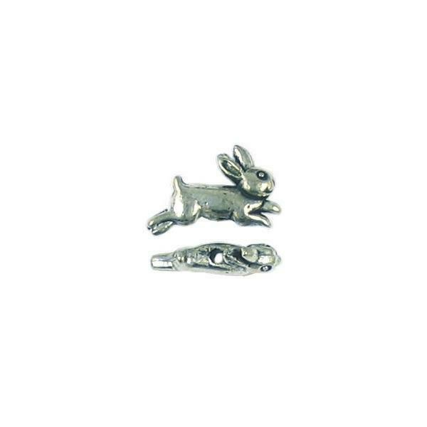 RABBIT FINE PEWTER BEAD - 10x16x4mm - Hole 1.5mm