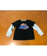 Boys Kids Nike Black & Gray Hands Print Long Sleeve Shirt Size 7 - $9.89