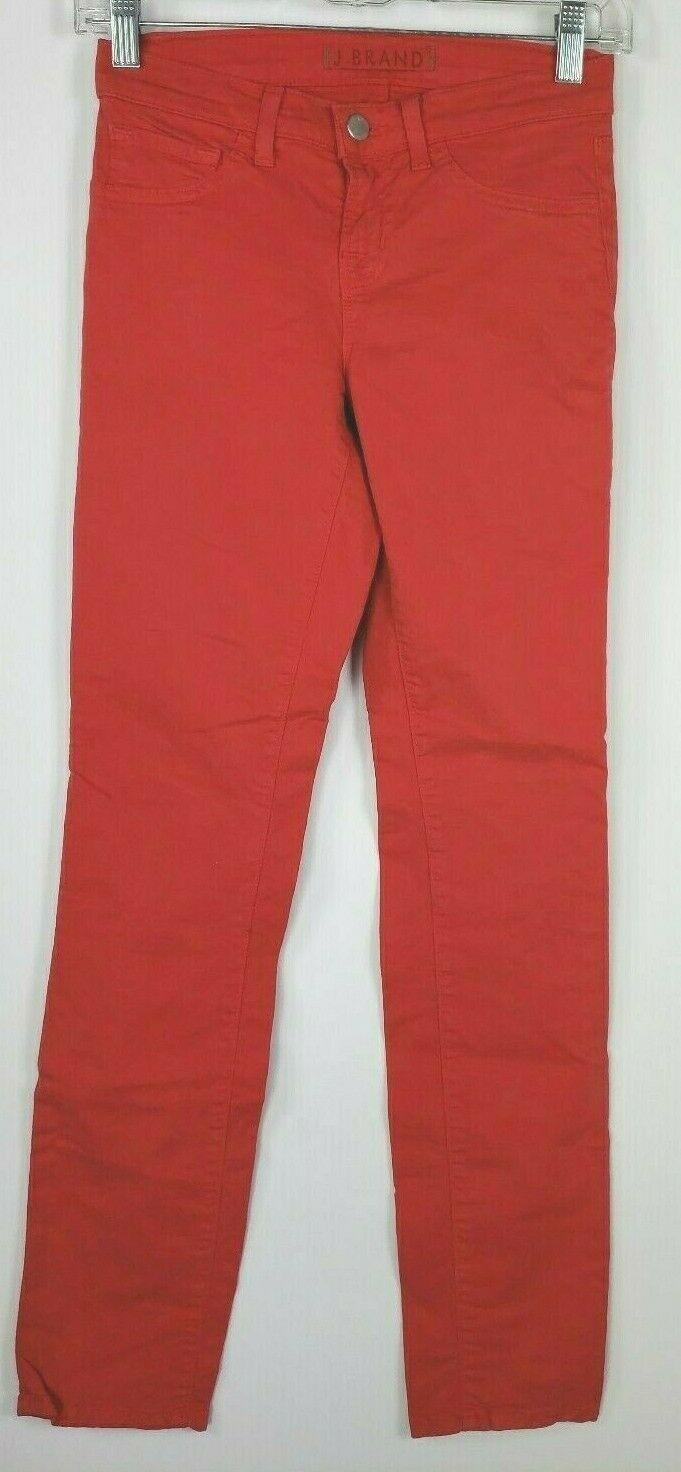 """J Brand """" Skinny Gamba """" Rosso Jeans 24 Cotone Elasticizzato Stile #811K120"""