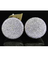 Mens Womens 14K Yellow Gold Over Diamond Pave Circle Round Stud Earrings... - $70.00