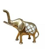 Brass Elephant Mother of Pearl Inlay Inlaid  Trunk Up Luck Prosperity Fi... - $22.44