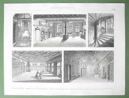 INTERIOR Architecture Medieval Hotel Houses Senate - 1870 Original Engra... - $9.45