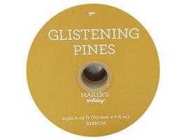 "JoAnn's Glistening Pines Ribbon, Gold Snowflakes, 2.5"" x 25 Feet image 2"