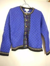 Vintage 100% boiled wool Sweater Cardigan Jacket Size PM by Tally-Ho Ro... - $29.69