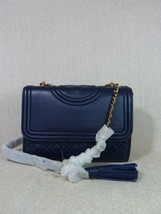NWT Tory Burch Royal Navy Leather Small Fleming Convertible Bag - $403.90