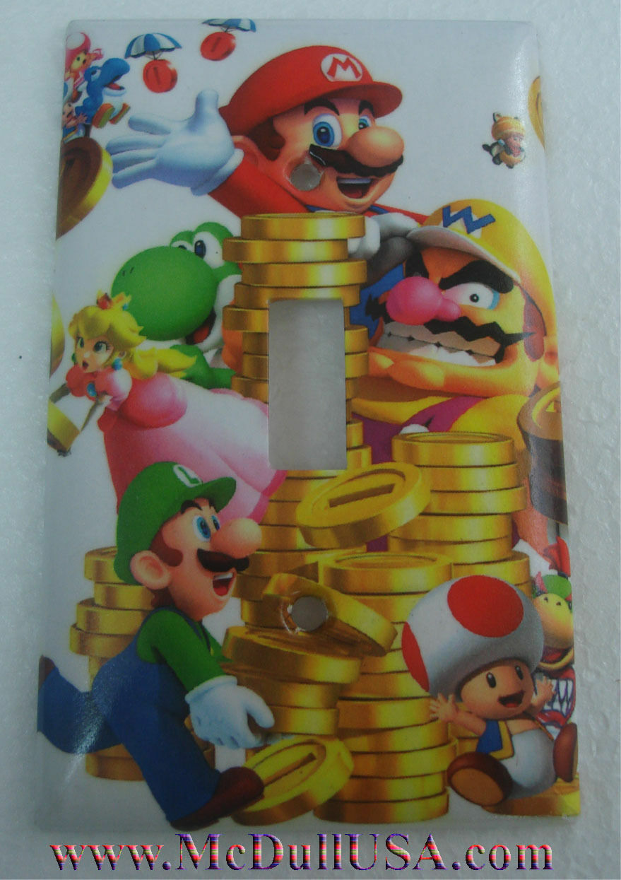 Super Mario Luigi & Coin Light Switch Duplex Outlet wall Cover Plate Home decor