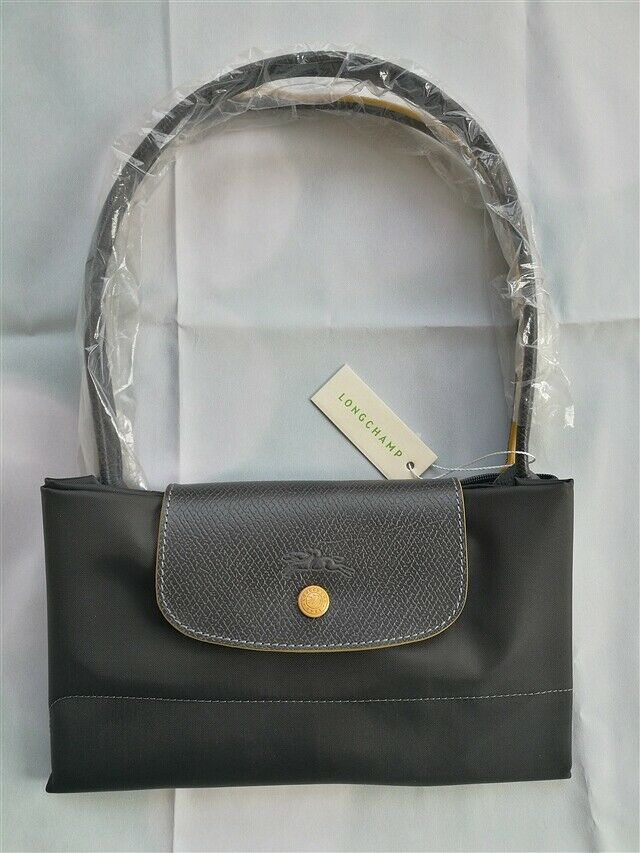 Auth Longchamp Le Pliage Graphite Nylon Large Tote Bag Leather Strap Handles