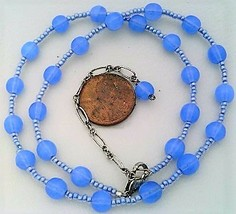 Light Sapphire Blue Opal Glass Beaded Necklace - $27.15