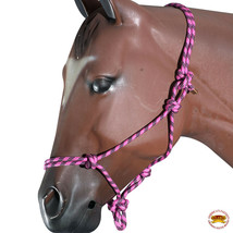 Pink Black Horse Halter Braided Poly Rope Western Tack By Hilason U-A408 - $18.47