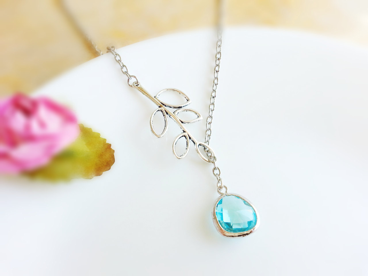 Aqua glass gemstone silver branch lariat necklace1