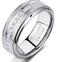 Men's Stunning Solid Tungsten Carbide Ring Inlaid Grade A CZ Channel Setting image 1