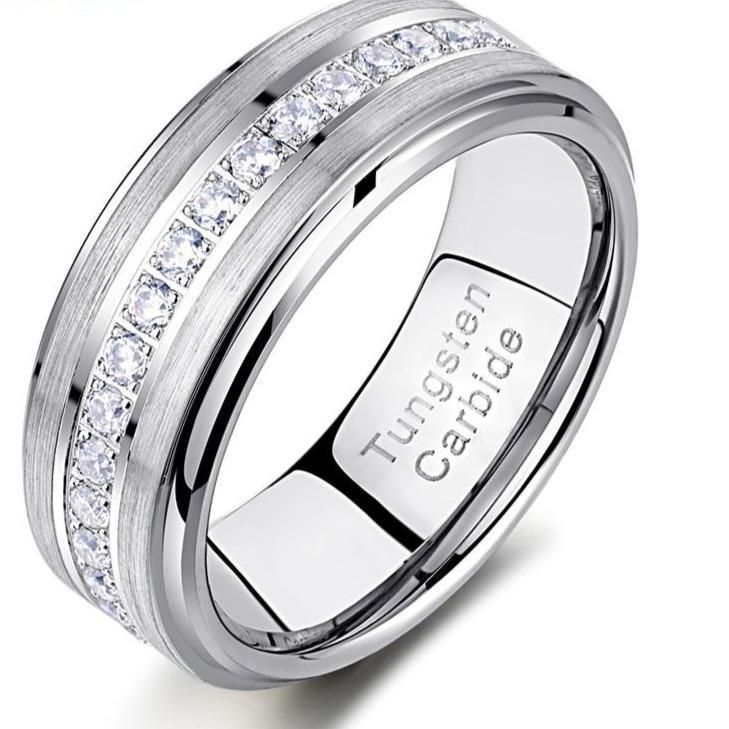 Newshe mens promise wedding band tungsten carbide rings for men charm ring 8mm size 9 13