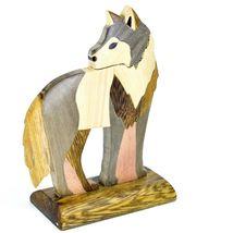 Northwoods Handmade Wooden Parquetry Standing Wolf Sculpture Figurine image 3