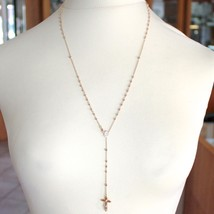18K ROSE PINK GOLD ROSARY NECKLACE MIRACULOUS MARY MEDAL JESUS CROSS, 22 INCHES image 2