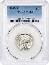 1942-S 5c PCGS MS63 - Jefferson Nickel - $24.25