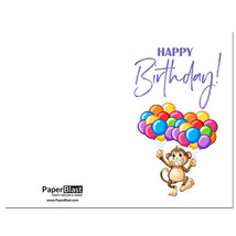 Monkey Balloons Birthday Card --- with Custom Handwritten Message - mail... - $2.23