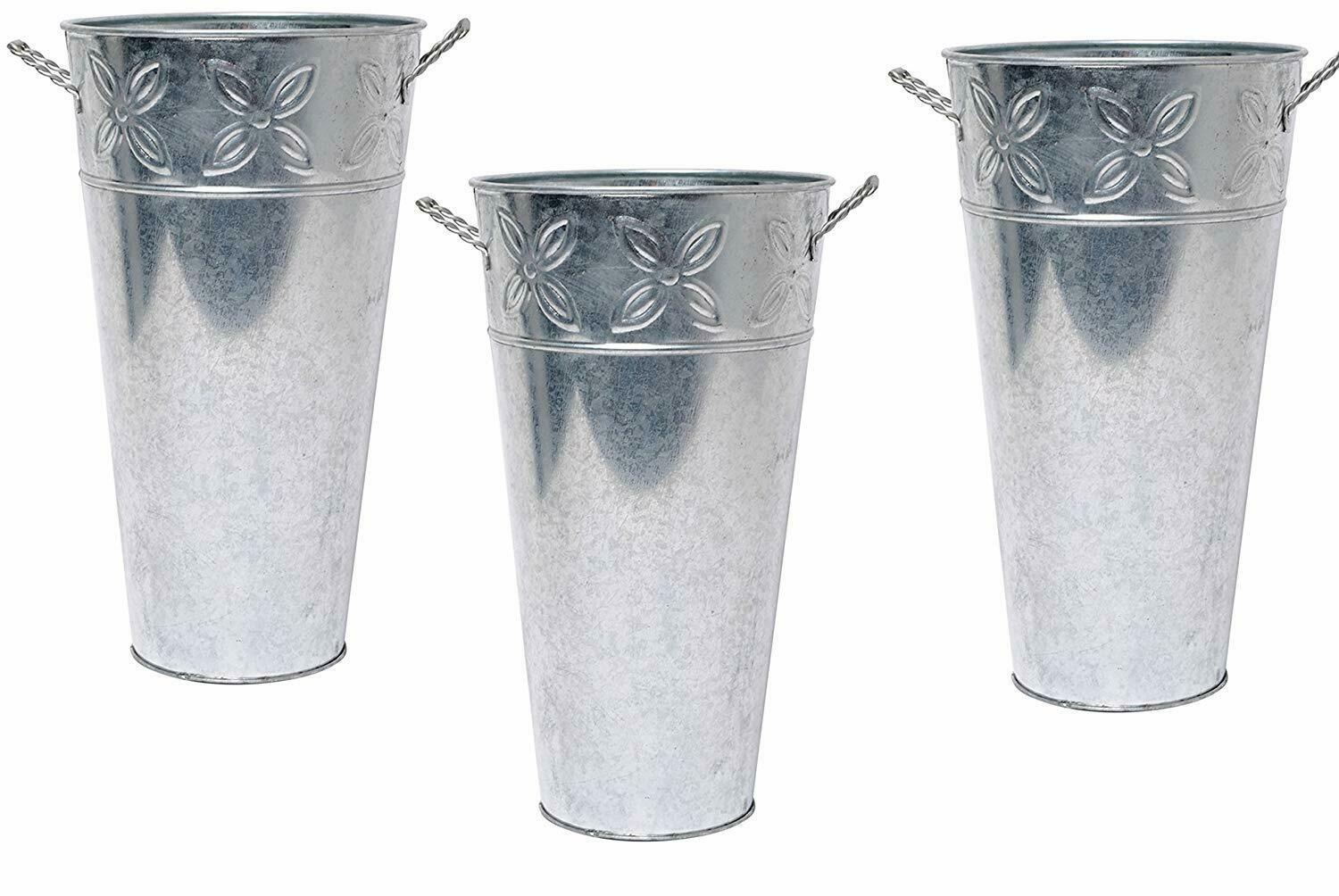 Primary image for Nice! Farmhouse Style Set of 3 Galvanized Metal Bucket Flower Vases & Decor