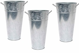 Nice! Farmhouse Style Set of 3 Galvanized Metal Bucket Flower Vases & Decor - $49.00