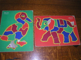Old Vintage A.M. Walzer Elephant Duck Cardboard Puzzles - $5.35