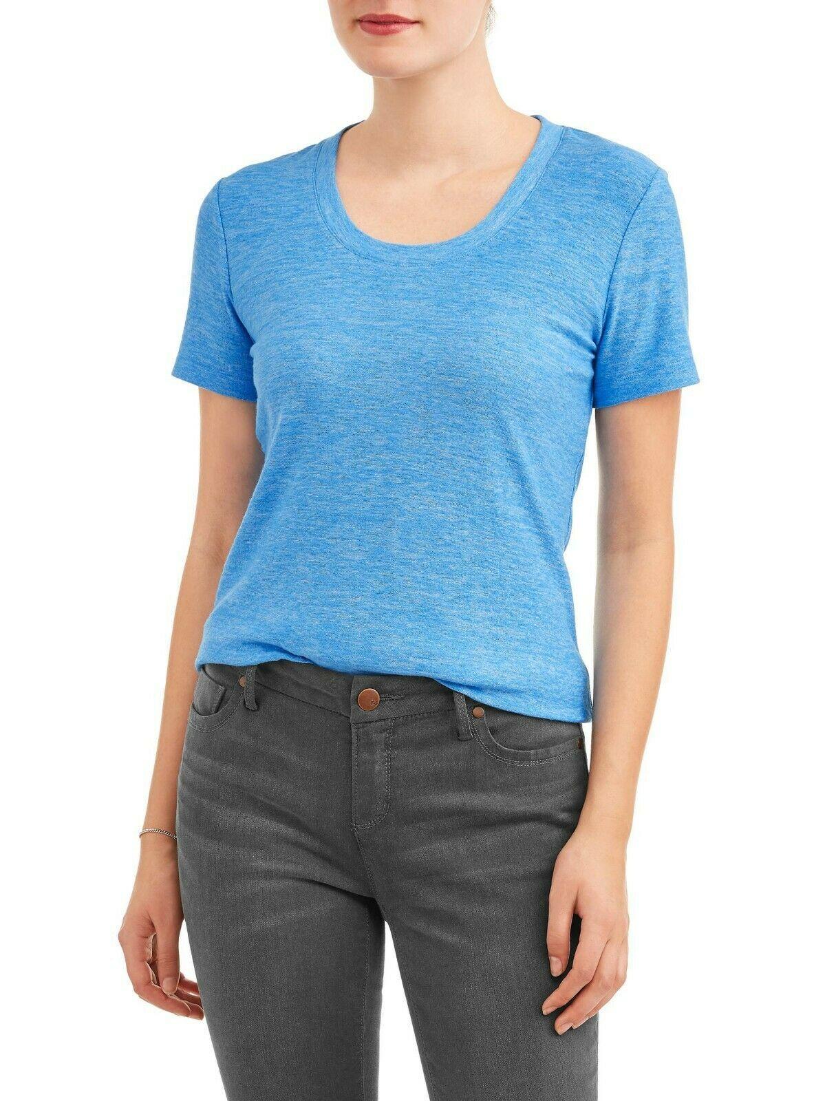 Time & Tru Women's Crew Neck T Shirt Blue XL (16-18) Short Sleeve Regular Fit