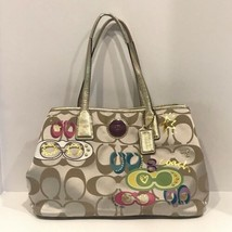 Coach F17575 Satin Signature Appliqué Kisslock Carryall - $84.97