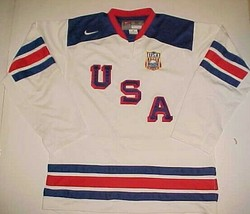 Nike USA Olympic IIHF Buffalo Sabres 2011 White Red Blue Hockey Team Jer... - $59.39